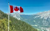 Welcome To Canada Flag With Mountains