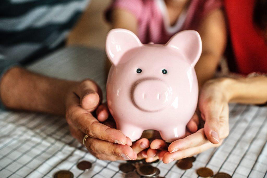Saving Money Close Up Of Piggy Bank