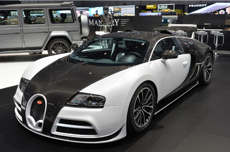 Bugatti veyron mansory vivere expensive luxury car in black and white