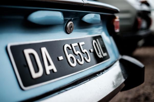 A car's license plate.